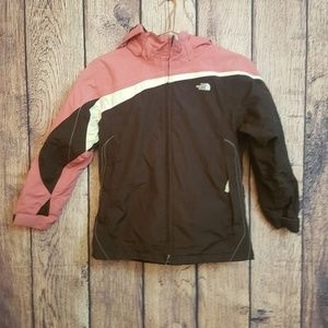 The north face girls hooded hyvent raincoat size L